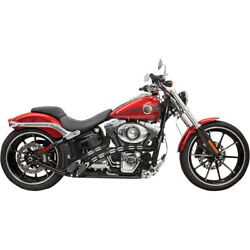 Bassani Chrome Radial Sweeper 22 Exhaust W/ Black Shields Harley Softail And Dyna