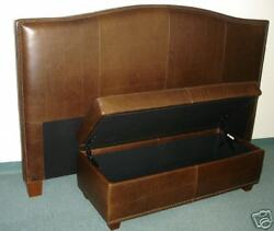 King Size Genuine Leather Headboard And Storage Bench - Bed Set