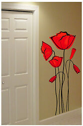 Large Poppies Wall Decals Sticker Decor Art Mural