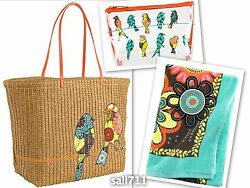 Vera Bradley Flower Shower Large Straw Tote Bag Clear Cosmetic Beach Towel *NWT*