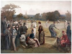 9094.people Gathered Around Tennis Court To Watch.poster.decor Home Office Art