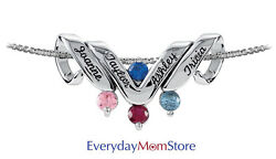 Personalized Motherand039s Pendant Sterling Silver Or Gold 1 To 6 Names And Birthstones
