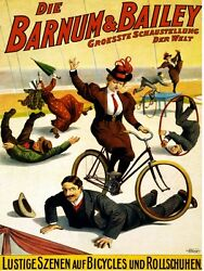 9407.barnum And Bailey.woman Rides Bike On Man.poster.decor Home Office Art