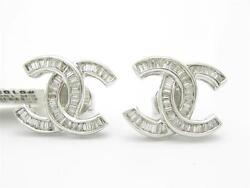 18kt Solid White Gold Genuine White Diamond 1.85ct Channel Set Stud Earring Gift
