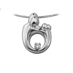 14k Gold Mother Father And Twin Or 2 Children Family Diamond Pendant Moms Jewelry