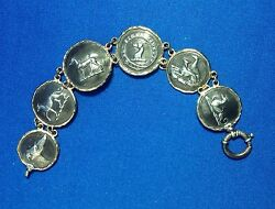 Sterling Silver And 14k Gold Link Bracelet, Greyhounds, Whippets, Connie Bram, 8