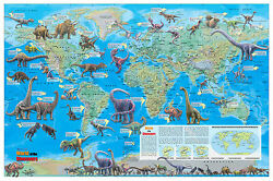 Cool Owl Maps Dinosaur World Wall Map Poster 36quot;x24quot; Rolled Paper