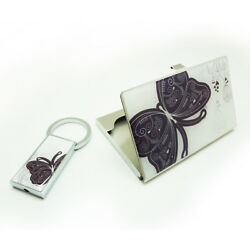 STAINLESS STEEL CARDS HOLDER WITH KEYCHAIN SETS