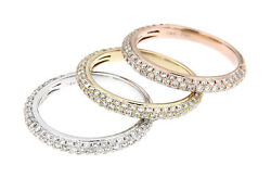 Tri-color 14k Gold And Genuine Diamond 2.0tcw Rings Set Of 3