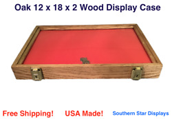 Oak Wood Display Case 12 X 18 X 2 For Arrowheads Knifes Collectibles And More