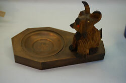 VINTAGE DOG FIGURINE CARVED WOOD SKYE TERRIER SOUVENIR CROATIA PIN DISH TRINKET