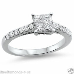 0.64ct Princess And Round Diamonds Engagement Ring Available In Gold And Platinum