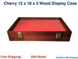 Cherry Wood Display Case 12 X 18 X 3 For Arrowheads Knifes Collectibles And More
