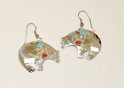 Native American Sterling Silver .925 Handmade Bear Turquoise And Coral Earrings