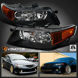 For 2004 2005 Acura TSX Projector Headlights Black Lamps Replacement LeftRight