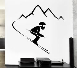Wall Decal Alpine Skiing Winter Sports Mountains Vinyl Stickers Art Mural Ig2575