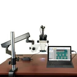 6.7-45x Stereo Microscope+articulat Arm Stand+144 Led Ring Light+1.3m Usb Camera