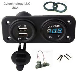 Marine Boat Rv Waterproof Dual Usb Charger + Blue Voltmeter Panel + Wire Jumpers