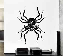 Wall Decal Spider Tribal Gas Mask Toxic Coolest Mural Vinyl Stickers Ed002