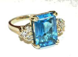 14kt Solid Yellow Gold Hand Made Deep Sky Blue Topaz Ring 0.75 Cts Diamond