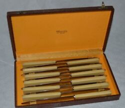 Gorgeous French Vintage Dessert Fruit Knifes 12 In Box
