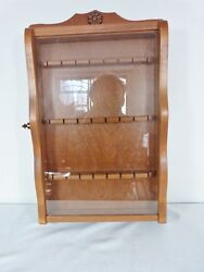 Souvenir Spoon Wood Display Rack W Glass Door For 24 Spoons By The Shelf Shop