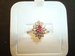 14k Yg Ruby And Diamond Cluster - 3.5 Grams - Sz. 5.25 - .50cttw. Approx T2rr