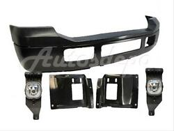 FOR 05-07 Super Duty F250 F350 Front Steel Bumper Blk Up Pad Plate Fog Light 6P