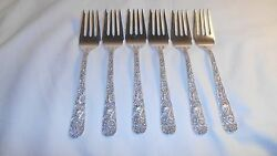 6 - S Kirk And Son Sterling Silver Repousse Salad/dessert Forks 6 1/4 202.8 Grams