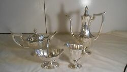 Gorham Sterling Silver 4 Piece Coffee And Tea Set Plymouth Pattern Rare Collection