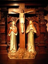 Xl Vintage Ooak Polychromed Mary And John Priests Altar Church Crucifix Signed