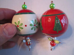 2 Vintage Glass - Handpainted And Glazed Christmas Ornaments - 2 In Dia. - Bba