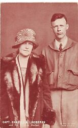 Charles Lindbergh And His Mother Aviator Trade Card Antique Postcard J28464