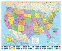 CoolOwlMaps United States Wall Map Poster 24quot;x20quot; USA Flags Laminated 2020