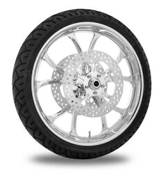 Performance Machine 21 Front Chrome Luxe Wheel Tire Rotor Package Harley 14-15