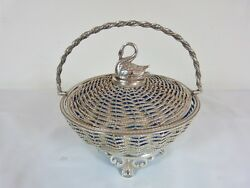 Swan Top Lid Woven Silver Plated Basket With Light Blue Glass Liner By Unknown