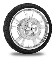 Xtreme Machine Cruise Chrome 21 Front Wheel Tire Rotor Package Harley 08-13