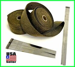 Titanium Lava Exhaust Header Pipe Heat Wrap 2 Rolls 2x 25and039 Stainless Ties Kit