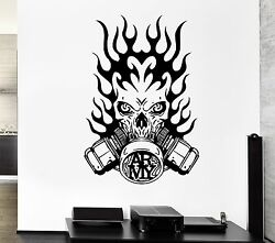 Wall Decal Army Fire Gas Mask Skull Death Soldier Mural Vinyl Stickers Ed134