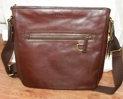 AUTH Coach Men Brown Leather Shoulder Bag Crossbody 70488
