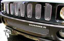GRILLCRAFT H2503-04B Black MX Grille Upper & Lower Insert for 06-10 H3H3T