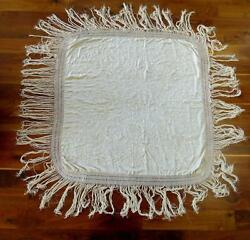 Exceptional Vintage 1920and039s White On White Ivor Silk Embroidered Shawl 50x 50