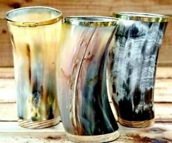 Set Of 3 Hand Made Vikings Drinking Horn Stein Cup Mug For Best Man And Groomsman