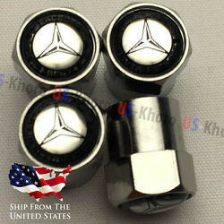 Mercedes Benz Valve Stems Caps Covers With Mb Star And Laurel Emblem Tire Set Of 4