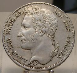 1849 Belgium Silver 5 Francs Old World Large Size Silver Coin