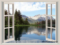 Lake amp; Mountains Window View Repositionable Color Wall Sticker Wall Mural 3 FT