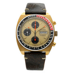 Vintage Sicura Chronograph Day/date Brown Leather Swiss Automatic Menand039s Watch