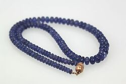 Gorgeous Blue Tanzanite Cabochon Beaded Necklace 14k Rose Gold Clasp 19 1/2long