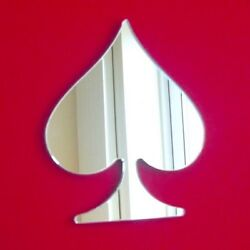 Spade Shaped Poker Playing Cards Mirrors, 3mm Acrylic Mirror, Several Sizes
