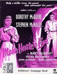 Make Haste To Live 1954 Dorothy Mcguire, Stephen Mcnally, Mary Murphy Pressbook